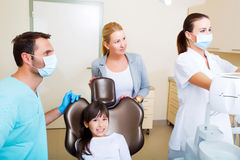 Little girl with her mother at the Dentist Royalty Free Stock Photos