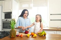 Little girl with her mother in the kitchen preparing a fresh fru royalty free stock photography