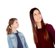 Little girl with her mother looking up Royalty Free Stock Images