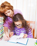 Little girl with and her mother reading Royalty Free Stock Photography