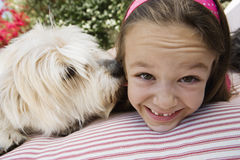 Little Girl With Her Pet Dog Royalty Free Stock Images