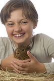 Little girl and her pet a guinea pigs. White background Stock Photos