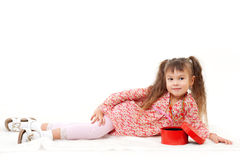 Little girl with her present Stock Photography