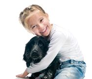 Little girl with her puppy. Cute little girl with her puppy royalty free stock photography