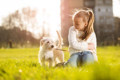 Little girl with her puppy dog Royalty Free Stock Photos