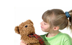 Little girl with her teddy. Me and my teddy bear, always best friends Stock Photos