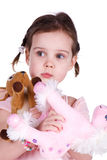 Little girl with her toys Royalty Free Stock Photo