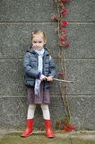 Little girl on her way to school on autumn day Royalty Free Stock Photos