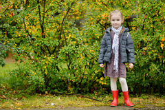 Little girl on her way to school on autumn day Royalty Free Stock Images