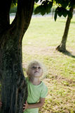 Little girl hhigging a tree Royalty Free Stock Photography