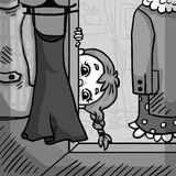 Little girl hiding in the closet. Illustration Royalty Free Stock Photo