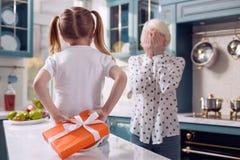 Little girl hiding a present for her grandmother. Birthday present. Cute little girl hiding a present for beloved grandmother behind her back while the women Stock Photos