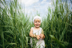 Little girl in high grass Royalty Free Stock Image