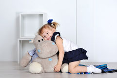 Little girl with hippopotam Royalty Free Stock Photography