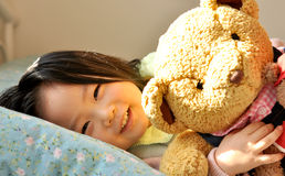 A little girl Hold bear Royalty Free Stock Images
