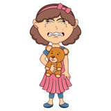 Little girl hold a bear and cry cartoon. Full color Stock Images