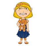 Little girl hold a bear and cry cartoon. Full color Royalty Free Stock Photo