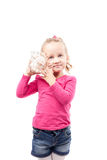 Little girl hold shell isolated on white Royalty Free Stock Photography