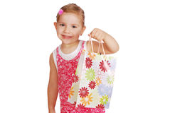 Little girl hold shopping bag Royalty Free Stock Images