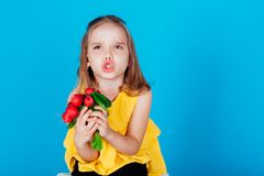 Free Little Girl Holding A Red Radishes Healthy Food Vegetables Stock Photos - 167145023