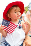 Little girl holding American flag Royalty Free Stock Photo