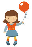Little girl holding balloon Stock Images