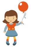 Little girl holding balloon Stock Images