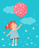 Little girl holding balloon stock illustration