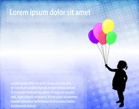 Little girl holding balloons over abstract background with space. For text - vector royalty free illustration