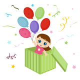 Little girl holding balloons and sitting in a green box. Royalty Free Stock Images