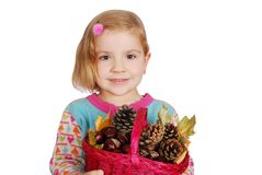 Little girl holding basket Stock Photography