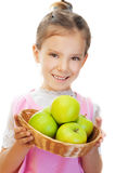 Little girl holding basket of green Royalty Free Stock Photography