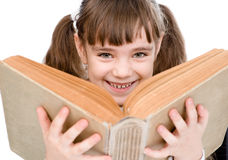 Little girl holding big book. isolated on white background Stock Image