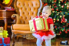 Girl holding a big gift wrapped golden paper, on the background of a festive Christmas tree stock photos