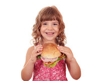 Little girl holding big sandwich Royalty Free Stock Photography