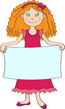 Little girl holding blank placard Royalty Free Stock Photo
