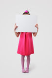 Little girl holding blank signs Royalty Free Stock Image