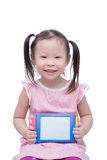 Little girl holding board over white Royalty Free Stock Image