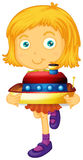 Little girl holding boat toy Stock Photo