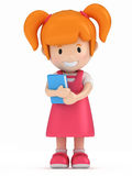 Little Girl Holding a Book Stock Photo