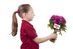 Little girl holding a bouquet Royalty Free Stock Photo