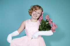 Little Girl Holding Bouquet Of Flowers Stock Image