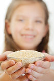 Little girl holding bowl Royalty Free Stock Image