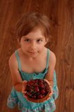Little girl holding a bowl of cherries. Little girl with sweet cherries Royalty Free Stock Photos