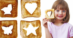 Little girl holding  bread Stock Photos