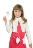 Little girl  is holding a card on the white background Stock Images