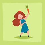 Little Girl Holding Carrot Farmers Daughter Royalty Free Stock Photo