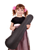 Little girl holding case Royalty Free Stock Images