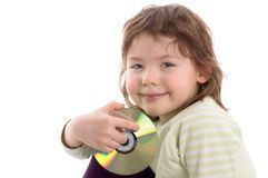 Little girl holding CD Stock Photos