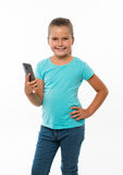 Little girl holding cell phone Royalty Free Stock Photo